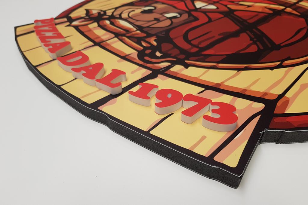 insegna pizzeria con lettere in 3D