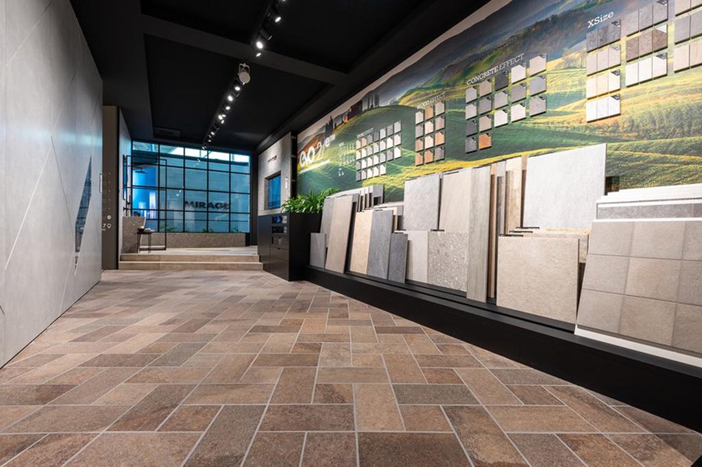 parete realizzata in Carpet per stand Cersaie 2019 Mirage